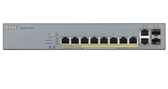 Switch Zyxel GS1350-12HP 10xGEth + 2xSFP / 8xPoE(130W)CCTV